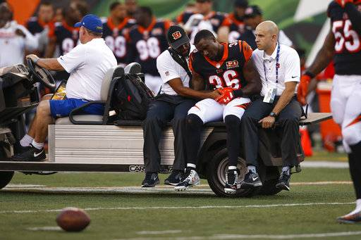Cincinnati Bengals strong safety Shawn Williams (36) is carted off the field during the first half of an NFL preseason football game against the Kansas City Chiefs, Saturday, Aug. 19, 2017, in Cincinnati.