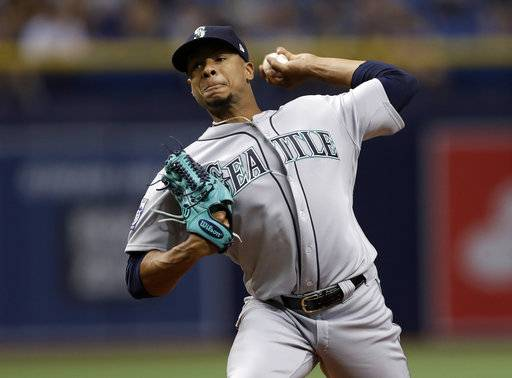 Seattle Mariners' Ariel Miranda pitches to the Tampa Bay Rays during the first inning of a baseball game Saturday, Aug. 19, 2017, in St. Petersburg, Fla.