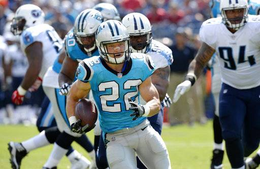 Carolina Panthers running back Christian McCaffrey (22) carries the ball against the Tennessee Titans in the first half of an NFL football preseason game Saturday, Aug. 19, 2017, in Nashville, Tenn.
