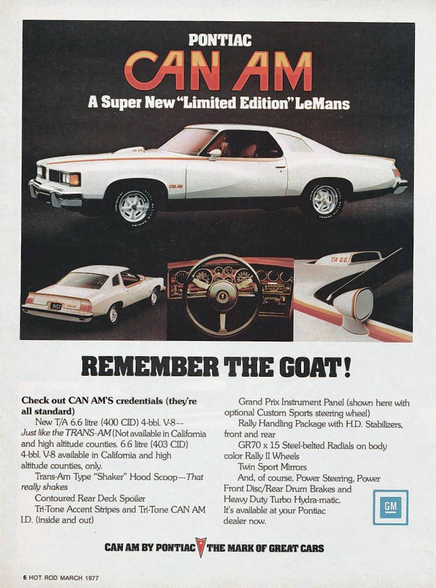 An advertisement for the car in Hot Rod magazine's March 1977 issue.