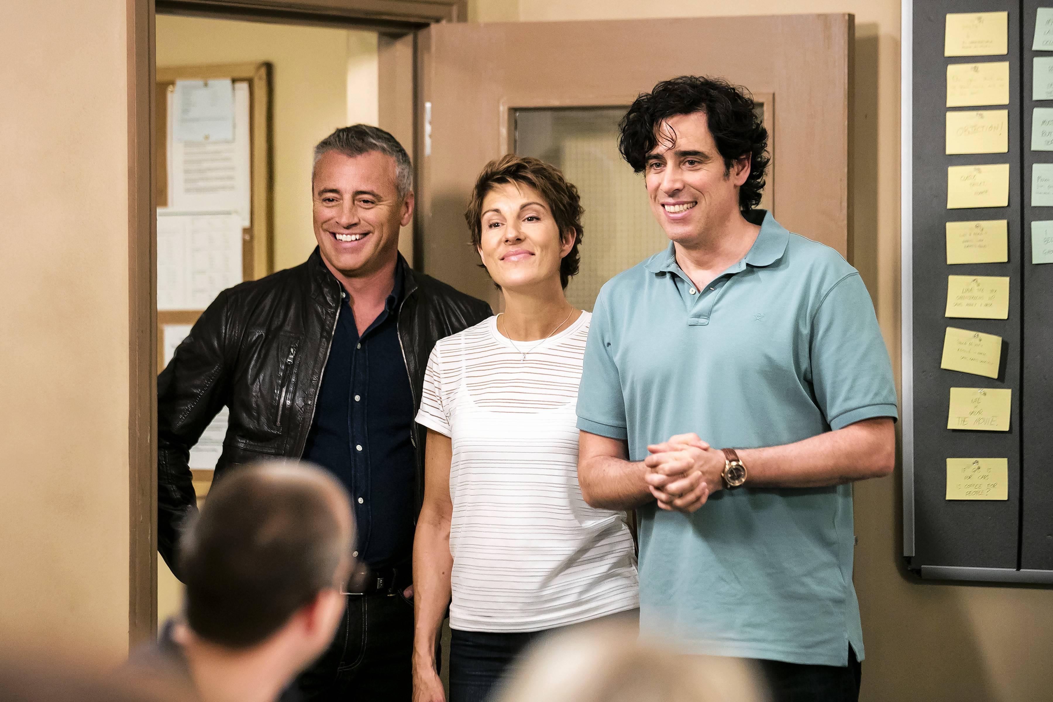 "Matt LeBlanc, left, Tamsin Greig and Stephen Mangan star in ""Episodes,"" premiering its fifth season Sunday, Aug. 20, on Showtime."