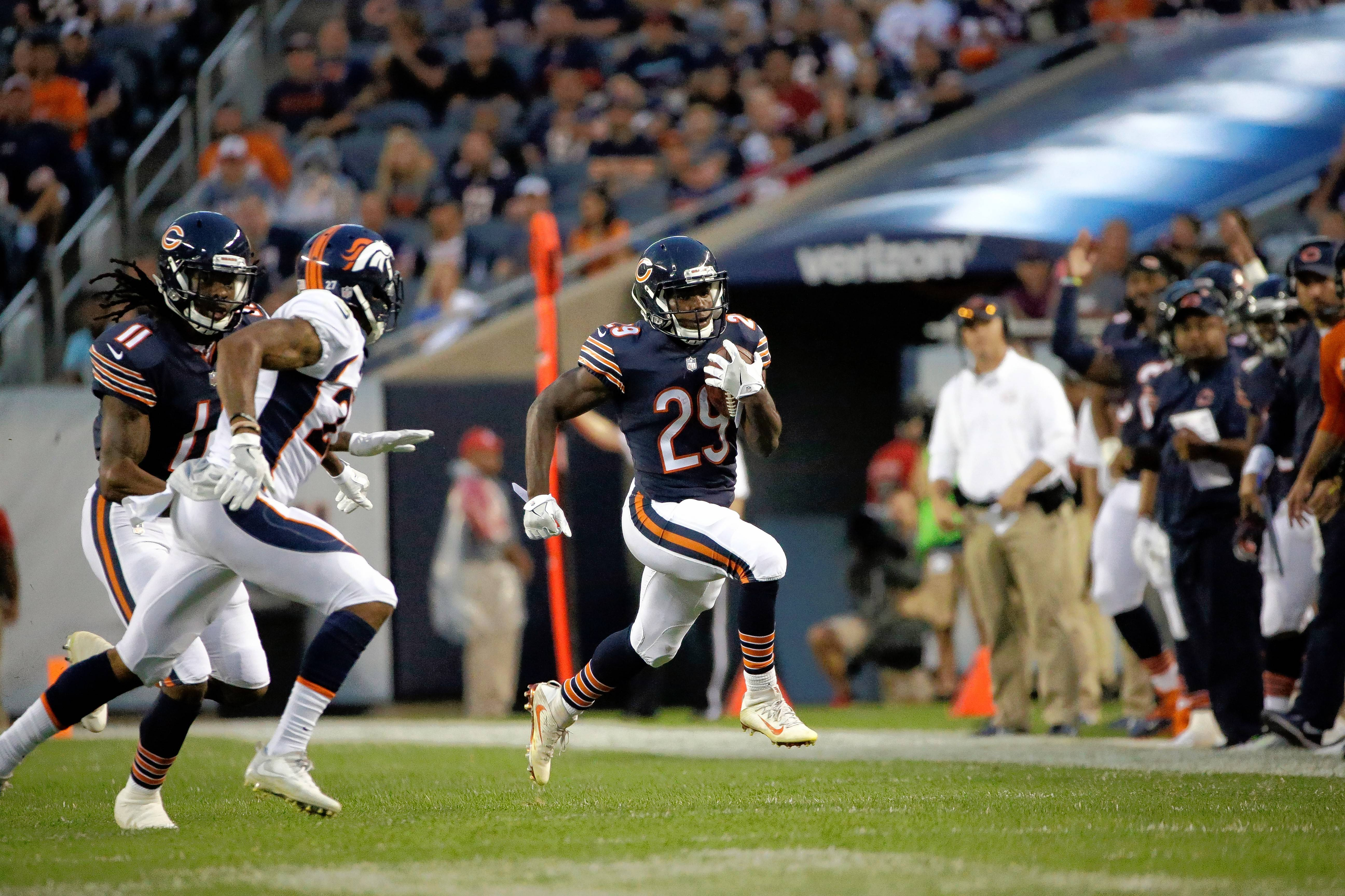 Chicago Bears running back Tarik Cohen (29) runs during the first half of the preseason opener against the Denver Broncos. (AP Photo/Nam Y. Huh)