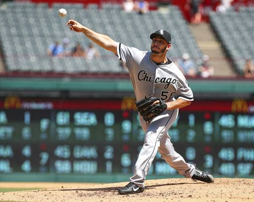 Chicago White Sox starting pitcher Miguel Gonzalez (58) delivers a pitch in the second inning against the Texas Rangers at Globe Life Park in Arlington, Texas, Sunday, Aug. 20, 2017. (AP Photo/ Richard W. Rodriguez)