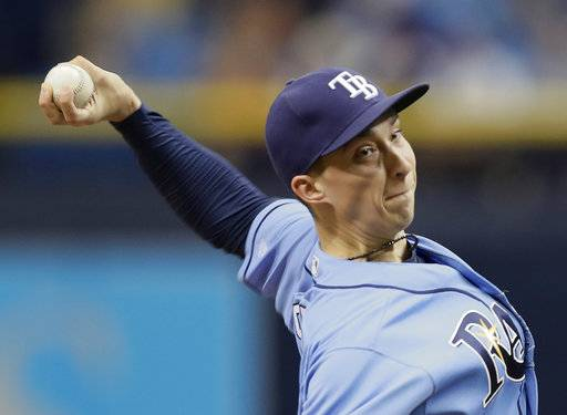 Tampa Bay Rays' Blake Snell pitches to the Seattle Mariners during the first inning of a baseball game, Sunday, Aug. 20, 2017, in St. Petersburg, Fla. (AP Photo/Chris O'Meara)
