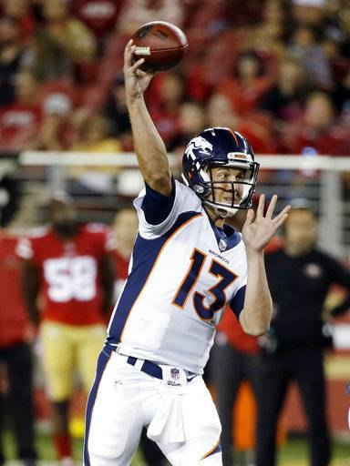 Denver Broncos quarterback Trevor Siemian (13) throws against the San Francisco 49ers during the first half of a preseason NFL football game Saturday, Aug. 19, 2017, in Santa Clara, Calif. (AP Photo/Eric Risberg)