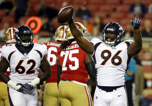 Denver Broncos defensive end Shelby Harris (96) celebrates after recovering a fumble by the San Francisco 49ers during the second half of a preseason NFL football game Saturday, Aug. 19, 2017, in Santa Clara, Calif.