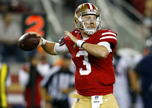 San Francisco 49ers quarterback C.J. Beathard throws against the Denver Broncos during the second half of a preseason NFL football game Saturday, Aug. 19, 2017, in Santa Clara, Calif.