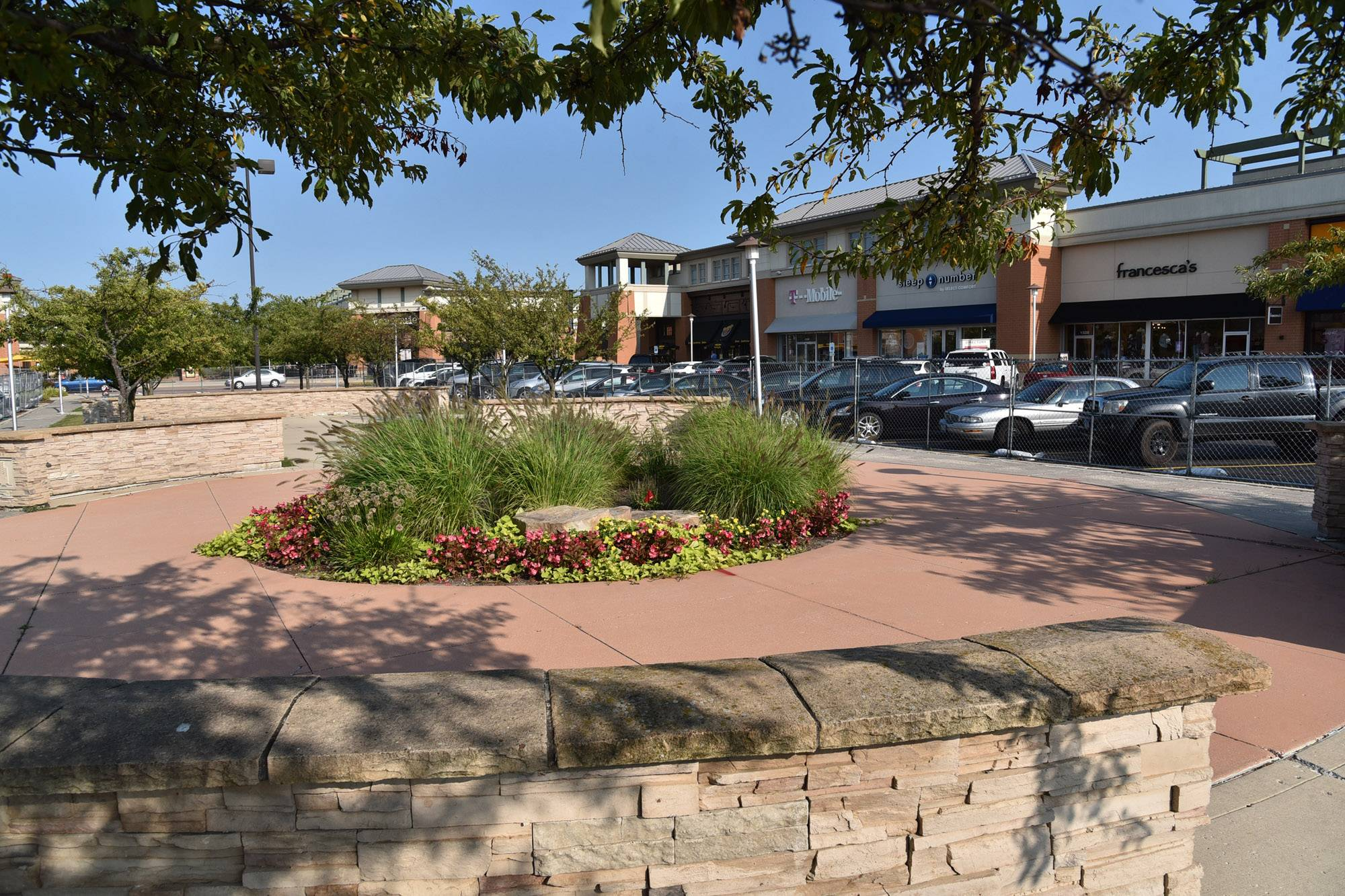 The commons area in the heart of the Geneva Commons shopping center is undergoing a transformation that will make it a park-like gathering place.