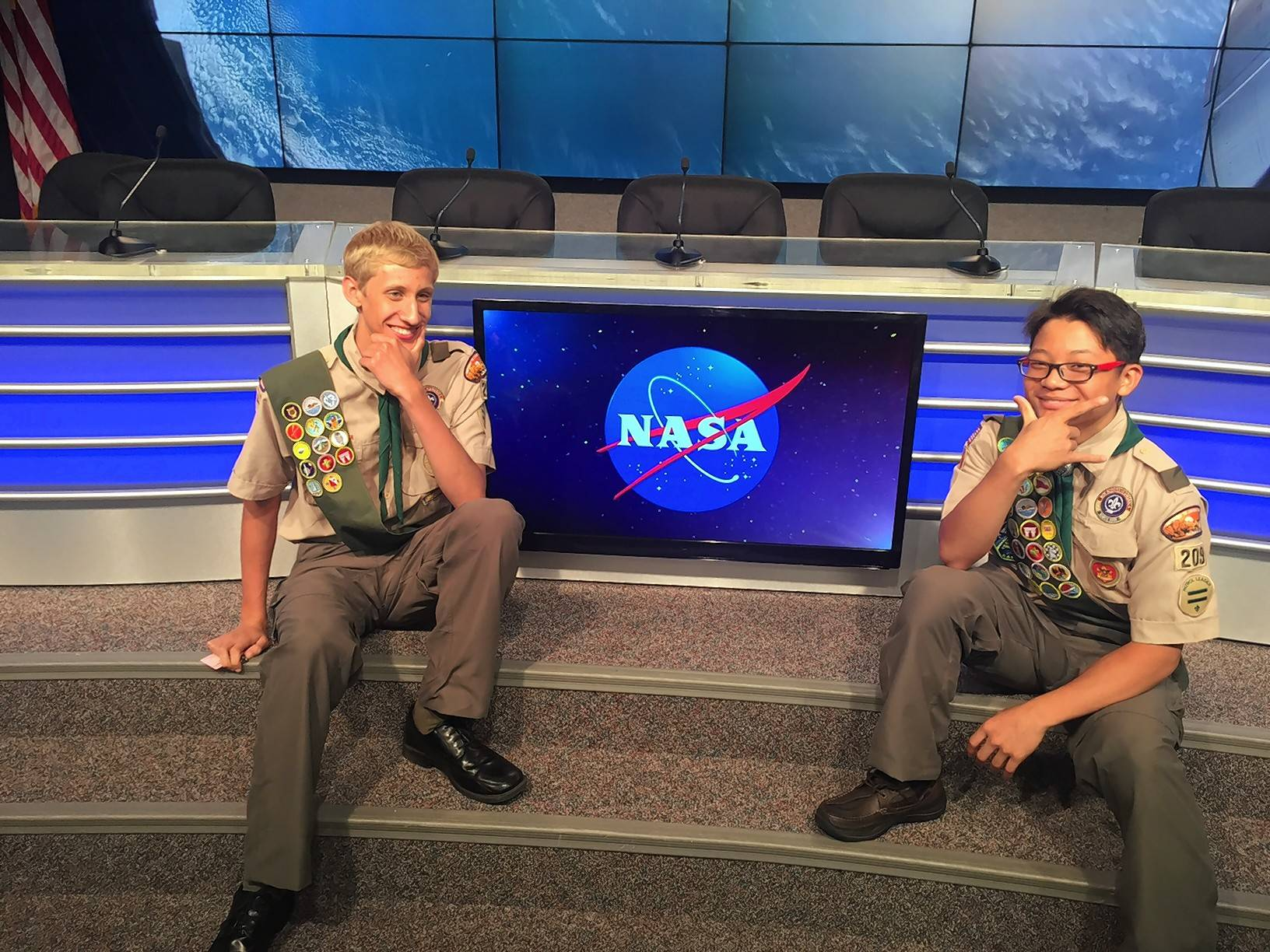 Andrew Frank, left, and Eliot Lee, pose before presenting their project on NASA TV.
