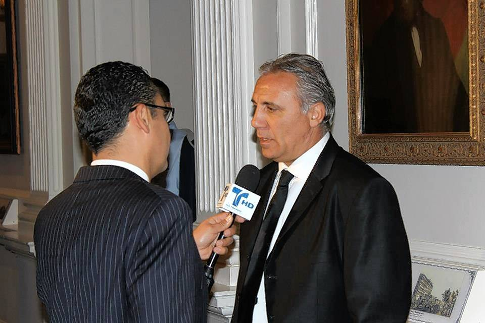 Former Chicago Fire player Hristo Stoichkov, right, attended the 15th anniversary party and will be back for the 20th.