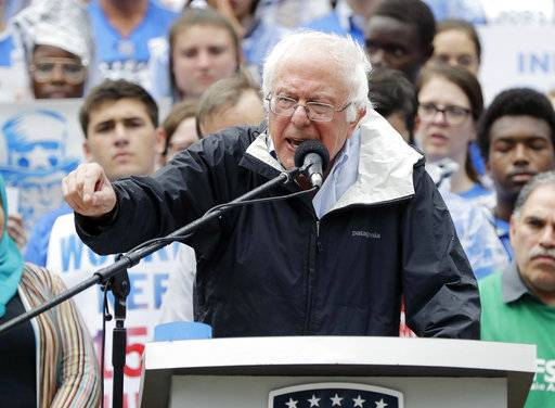 U.S. Sen. Bernie Sanders of Vermont speaks during a rally Monday, Aug. 21, 2017, in Indianapolis. (AP Photo/Darron Cummings)