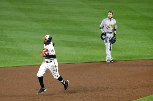 Baltimore Orioles' Adam Jones, left, rounds the bases past Oakland Athletics second baseman Jed Lowrie after hitting a solo home run in the fifth inning of a baseball game in Baltimore, Monday, Aug. 21, 2017. (AP Photo/Patrick Semansky)