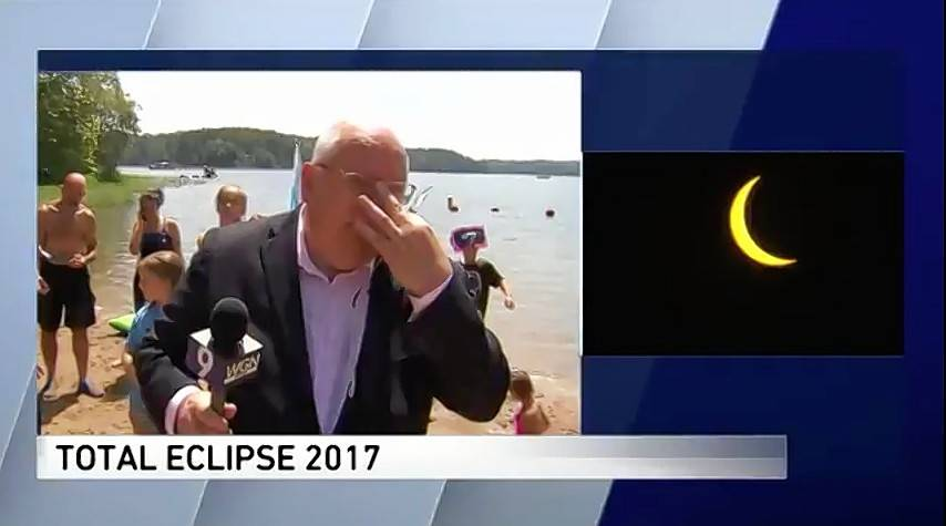 Tom Skilling WGN TV meterologist weeps at sight of the total solar eclipse.