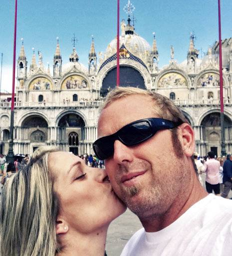 This August 2017 photo provided by Heidi Nunes-Tucker shows a selfie of her with her husband Jared Tucker during a visit to Venice, Italy. Jared Tucker, a California resident along with his wife were ending their European vacation in Barcelona and were on their way to a beach when they decided to stop at a cafe on Las Ramblas. Jared Tucker was one of the victims of the Thursday, Aug. 17, attacks in Barcelona. (Jared Tucker/Heidi Nunes Tucker via AP)