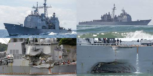 "This combination of file photos show U.S. Navy ships the USS Antietam, top left; the USS Lake Champlain, top right; the USS Fitzgerald, bottom left; and the USS John S. McCain. The commander of U.S. naval operations has ordered a comprehensive review to get to root causes after the collision this week between a Navy destroyer and an oil tanker near Singapore. The crash on Aug. 21, 2017, is the latest ""in a series of incidents in the Pacific theater,"" Adm. John Richardson said in a video statement. Navy ships have been in at least four accidents in the Pacific this year. (U.S. Navy via AP, AP Photos/File)"