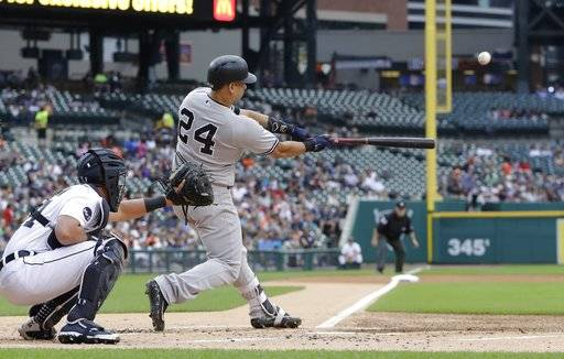 New York Yankees' Gary Sanchez connects for a two-run home run during the first inning of a baseball game against the Detroit Tigers, Tuesday, Aug. 22, 2017, in Detroit. (AP Photo/Carlos Osorio)