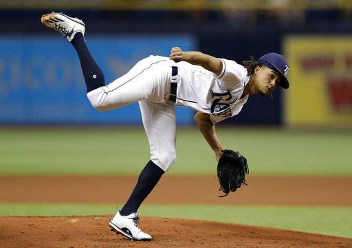 Tampa Bay Rays' Chris Archer follows through on a pitch to the Toronto Blue Jays during the first inning of a baseball game Tuesday, Aug. 22, 2017, in St. Petersburg, Fla. (AP Photo/Chris O'Meara)