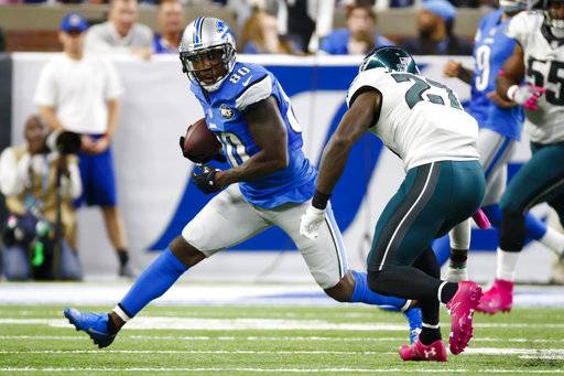 FILE- In this Oct. 9, 2016, file photo, Detroit Lions wide receiver Anquan Boldin (80) rushes against the Philadelphia Eagles during an NFL football game at Ford Field in Detroit. Boldin abruptly announced his retirement just under two weeks after signing with the Buffalo Bills. General manager Brandon Beane made it official Sunday, Aug. 20, 2017, by saying the team respects Boldin's decision to retire. (AP Photo/Rick Osentoski, File)