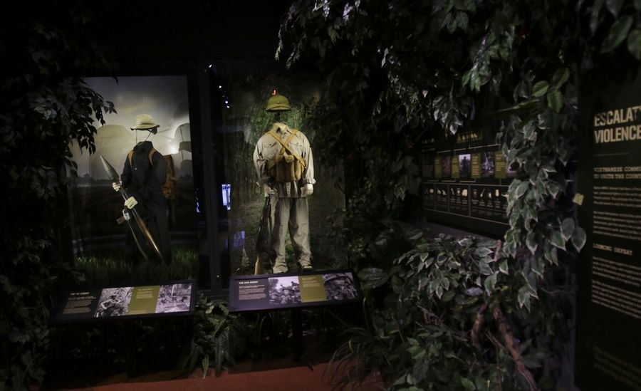 New display cases feature uniforms from the Vietnam era in the museum's First in War gallery.