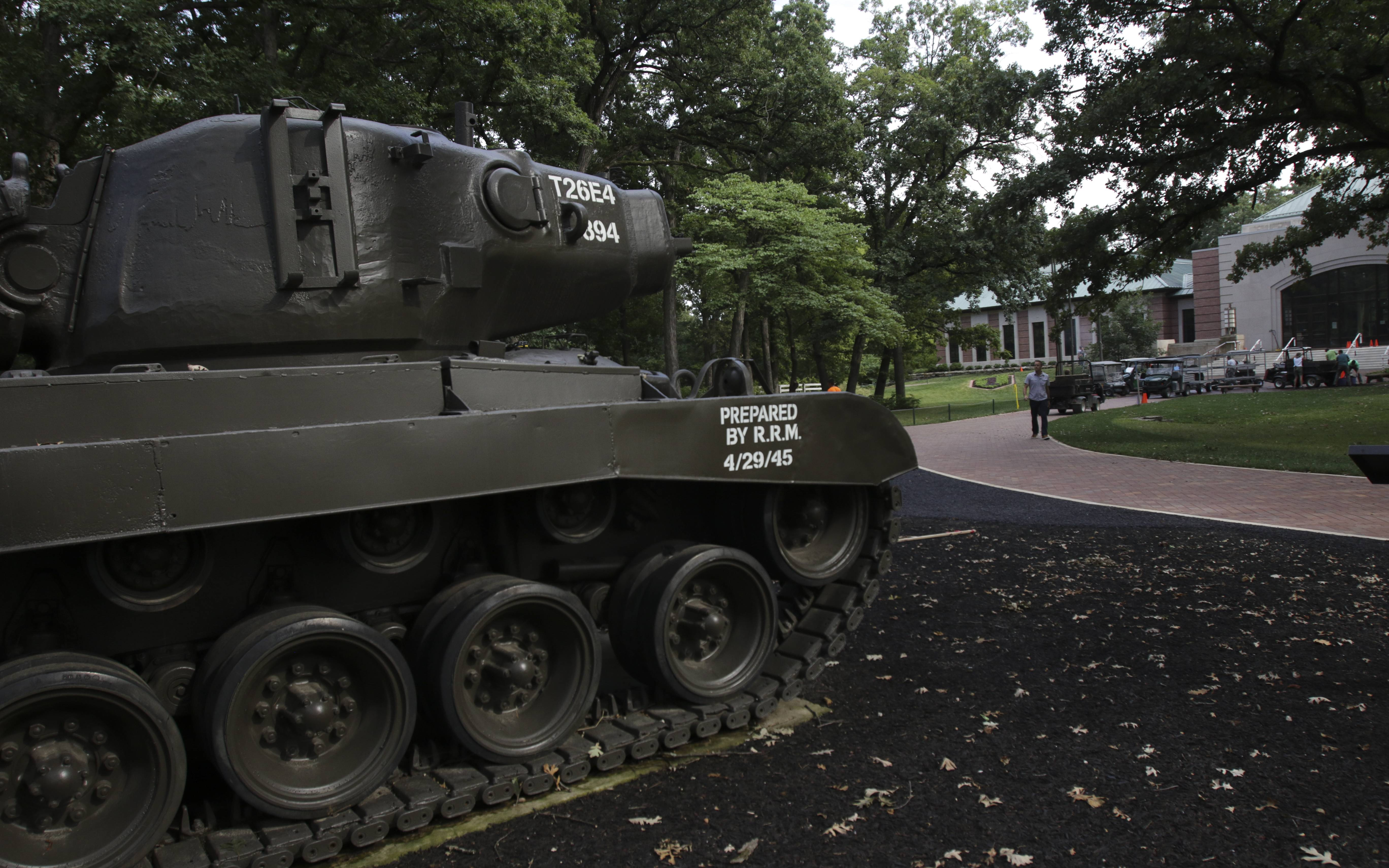 Tanks have been repainted and landscaping updated in a park outside the for the First Division Museum in Wheaton.