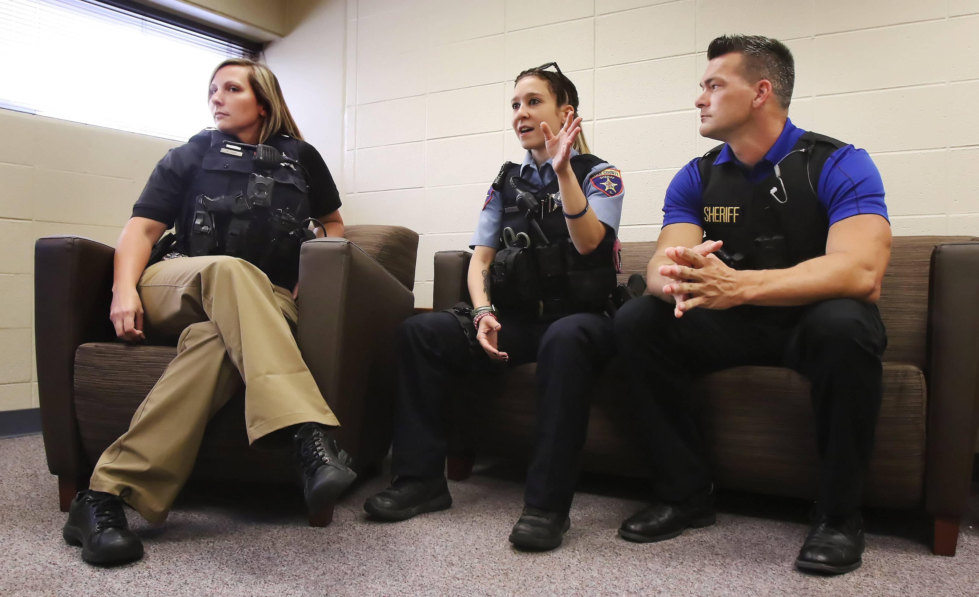 "Lake County sheriff's Deputy Rebecca Loeb talks about her experiences on ""Live PD"" with Detective Eric Carstensen, right, and Detective Trish List."