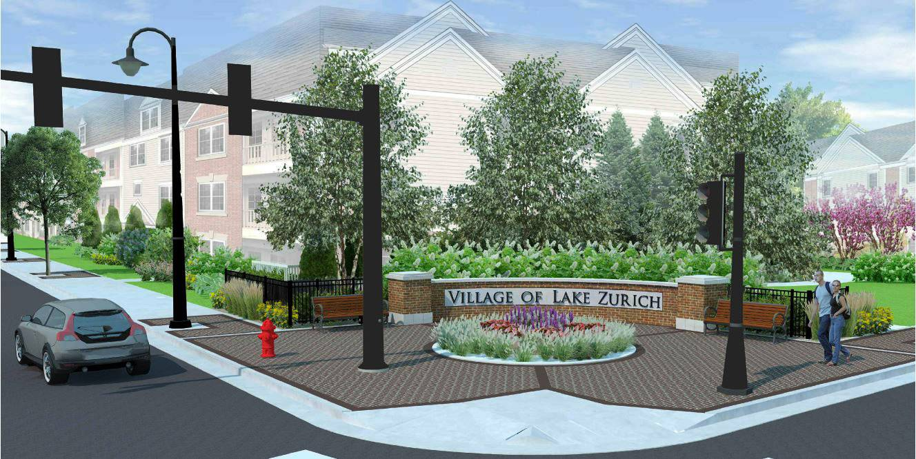 Courtesy of village of Lake Zurich A small park is proposed for the northwest corner of Main Street and Old Rand Road in downtown Lake Zurich.