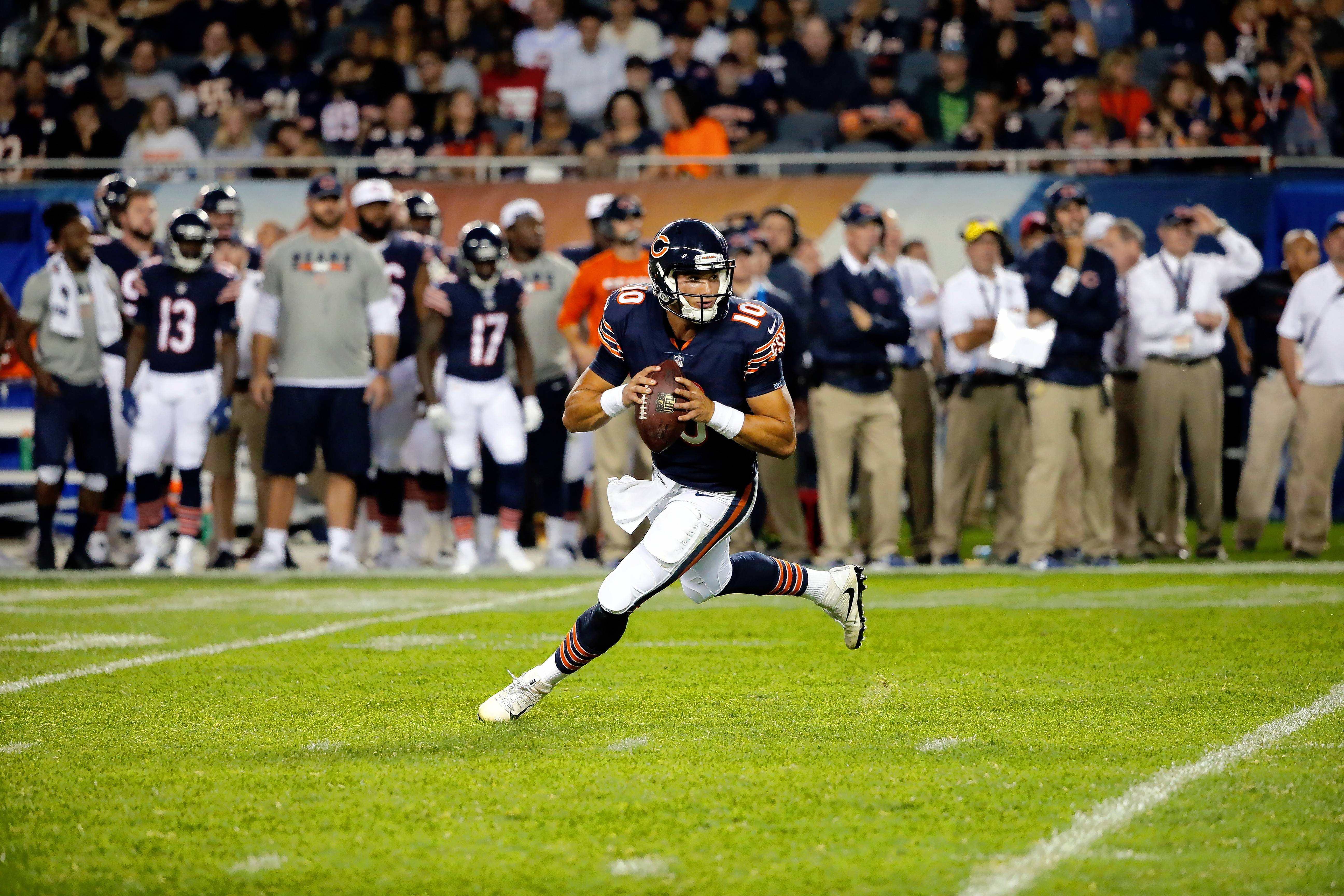 Associated Press Bears quarterback Mitch Trubisky scrambles during the second half of the preseason game against the Denver Broncos. Trubisky, who will get limited snaps with the first team in Sunday's third preseason game, says he's more concerned with his own development than with chasing the starting job.