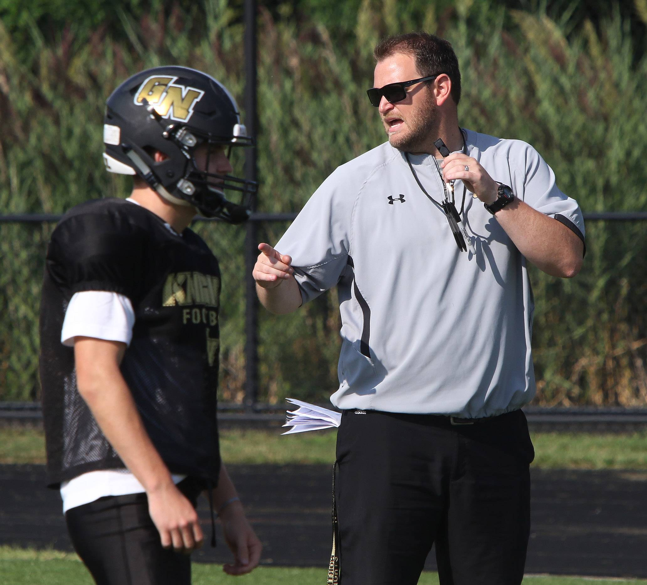 Grayslake North coach Sam Baker is taking a hands-on approach to Lake County football.