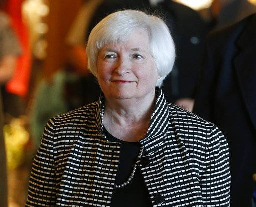 FILE - In this Thursday, Aug 25, 2016, file photo, Federal Reserve Chair Janet Yellen arrives for a reception on the opening night of the annual conference of the world's central bankers, north of Jackson Hole, Wyo. Against a backdrop of strengthening growth but chronically low inflation, Yellen and other central bankers are taking measure of the global economy at their annual conference in the shadow of Wyoming's Grand Teton Mountains. Yellen and Mario Draghi, head of the European Central Bank, will each address the conference on Friday, Aug. 25, 2017. (AP Photo/Brennan Linsley, File)