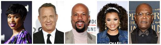 "This combination photo shows, from left, Jennifer Hudson, Tom Hanks, Common, Andra Day and Samuel L. Jackson who are among the celebrities participating in an hour-long live television special about reinventing American high schools. ""EIF Presents: XQ Super School Live� will air on all four major broadcast networks simultaneously on Sept. 8 at 8 p.m. EDT. (AP Photo/File)"