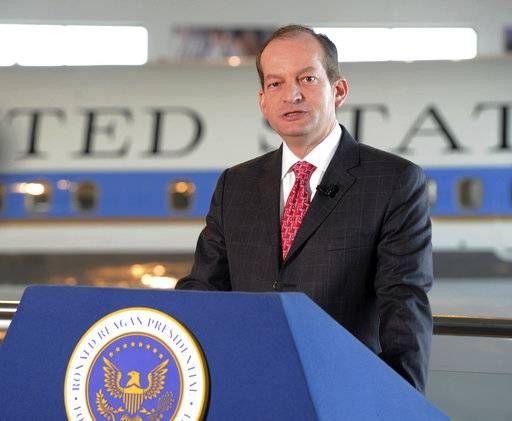 U.S. Labor Secretary Alexander Acosta announces that former President Ronald Reagan is going to be inducted into the U.S. Department of Labor Hall of Honor, Thursday, Aug. 24, 2017, at the Ronald Reagan Presidential Library & Museum in Simi Valley, Calif. Reagan, the nation's 40th president, served terms as president of the Screen Actors Guild in the 1940s and '50s. (Juan Carlo/Los Angeles Daily News via AP)