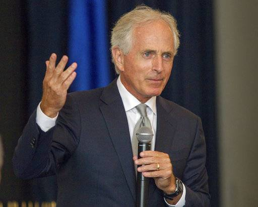 U.S. Sen. Bob Corker, R-Tenn., speaks at a luncheon hosted by the Kiwanis and Rotary clubs in Columbia, Tenn., on Friday, Aug. 18, 2017. Corker said he felt compelled to voice criticism of Donald Trump after the president said white supremacists didn't bear all the blame for a melee in Charlottesville, Virginia, where a woman was killed after being struck by a car driven into a crowd. (AP Photo/Erik Schelzig)