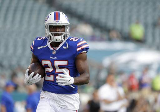 "File-This Aug. 17, 2017, file photo shows Buffalo Bills' LeSean McCoy during an NFL preseason football in Philadelphia. McCoy believes quarterback Colin Kaepernick would represent too much of a distraction for some teams to sign him. McCoy says the media ""chaos� that signing Kaepernick would bring is not worth it for what he believes is just ""an OK� player. McCoy shared his views at his locker following practice on Thursday, Aug. 24, 2017, while answering a question about his views about players protesting the anthems.(AP Photo/Michael Perez, File)"