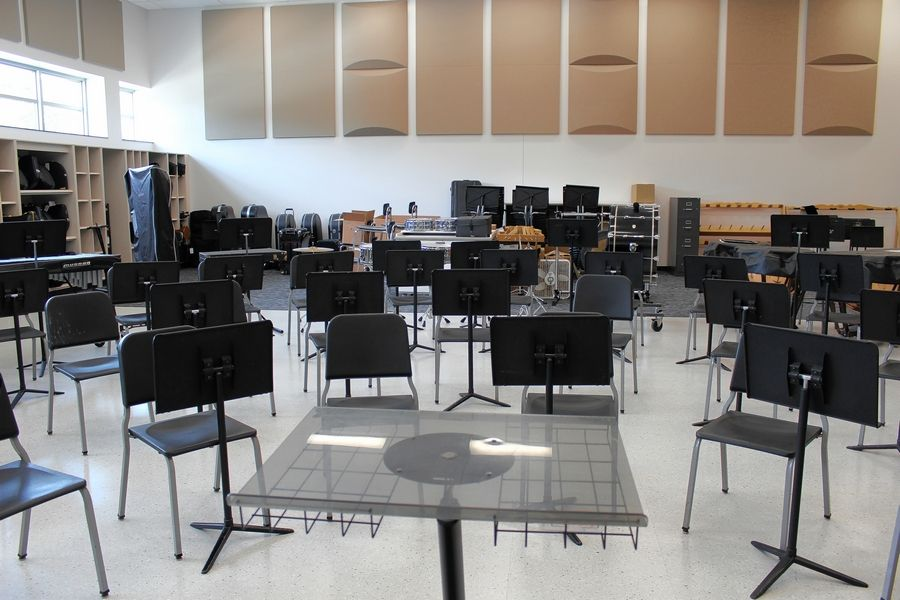 The Thomas Middle School expansion included a new band room.