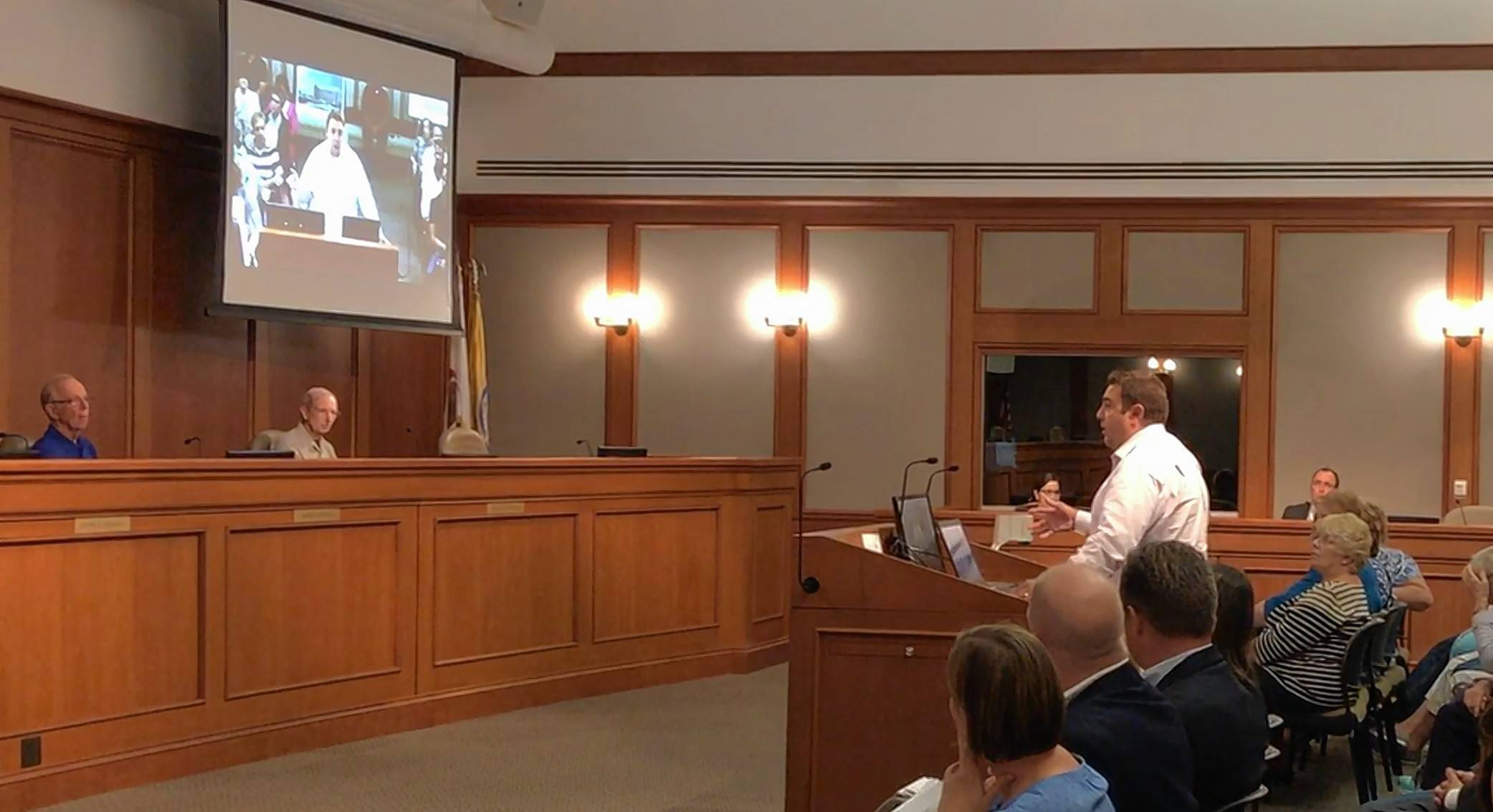 Nick Papanicholas Jr., vice president of the developer Nicholas and Associates, addresses the Mount Prospect Planning and Zoning Commission Thursday night.