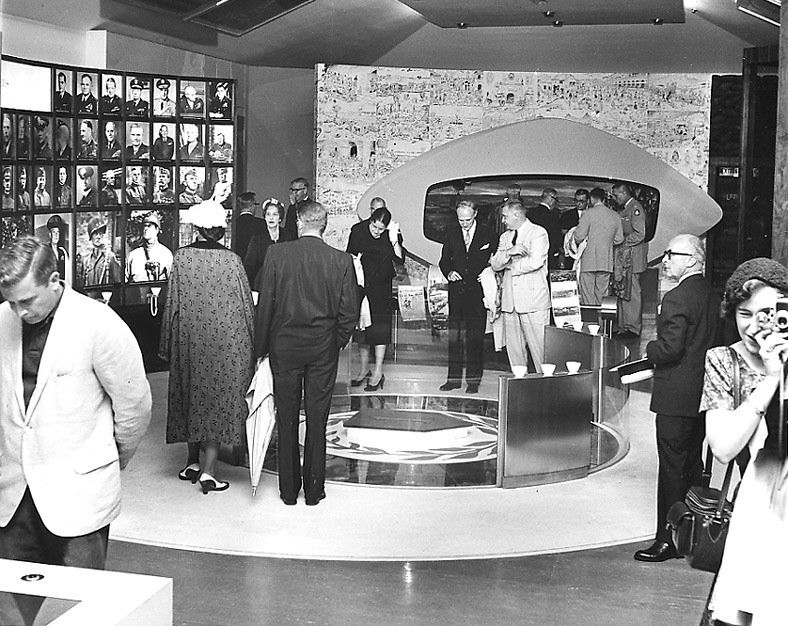 Visitors explore the original First Division Museum during its grand opening in August 1960.