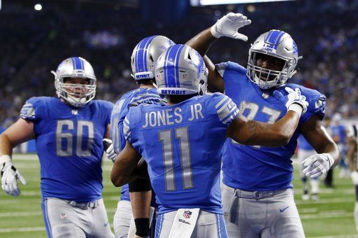 f17ee50ab72 Detroit Lions wide receiver Marvin Jones (11) is congratulated after his  23-yard