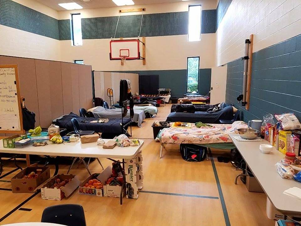 Cots were set up in Wildwood Presbyterian Church in Grayslake this month for the Texas volunteers who came to help Lake County residents clean up from the flood.