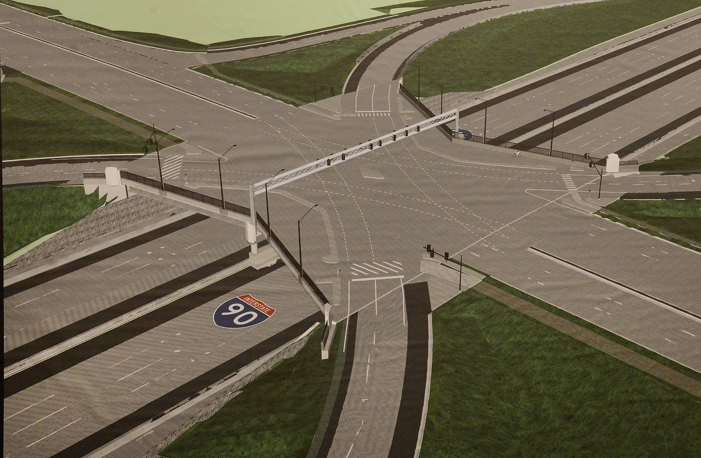Motorists will have access to a full interchange at the intersection of I-90 and Barrington Road starting Thursday, Aug. 31, when the eastbound exit ramp opens. This rendering of the improvement was released when the project was announced in February 2014.