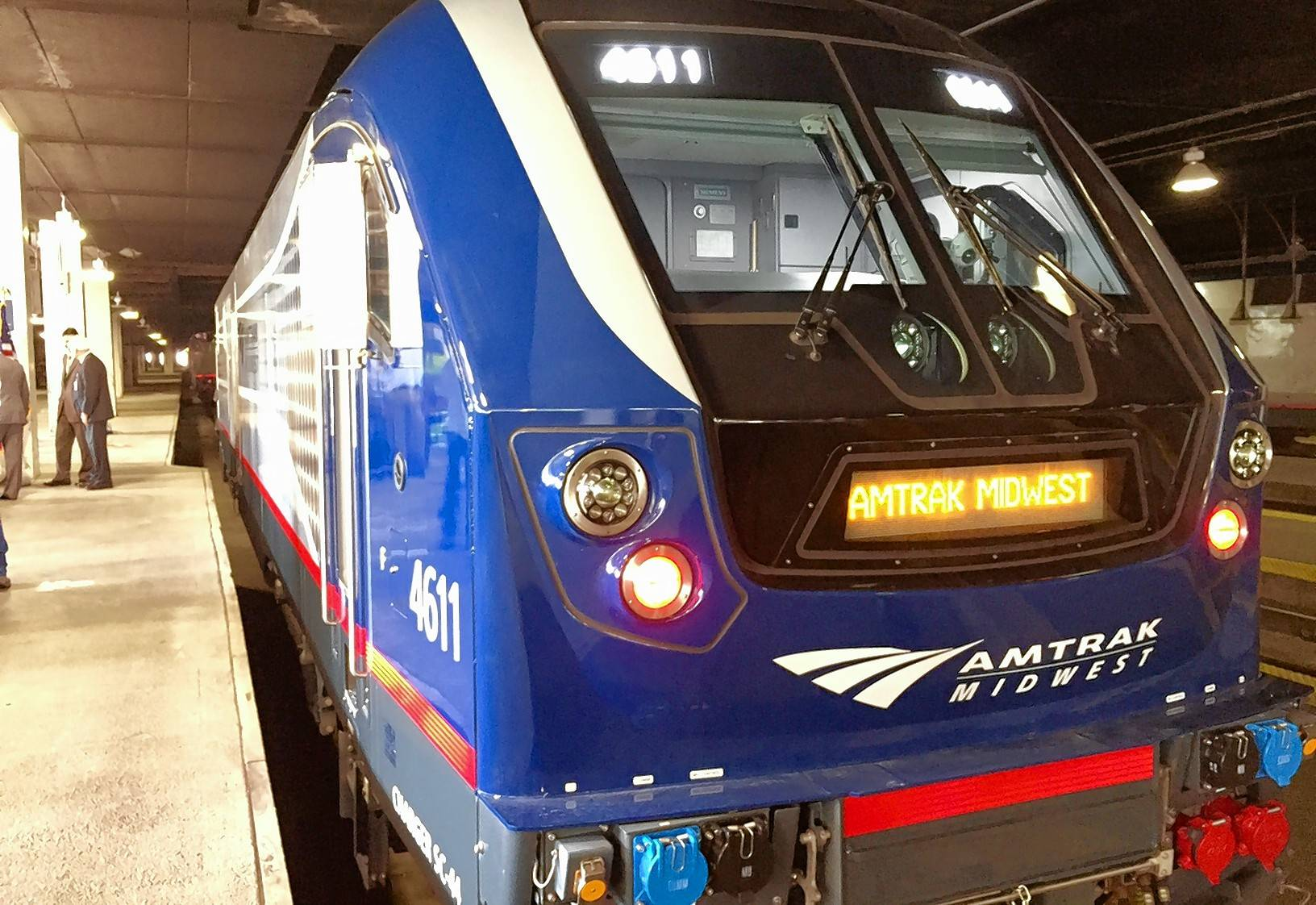 Amtrak and IDOT officials unveiled new locomotives Monday at Union Station for use in a high-speed rail route between Chicago and St. Louis.