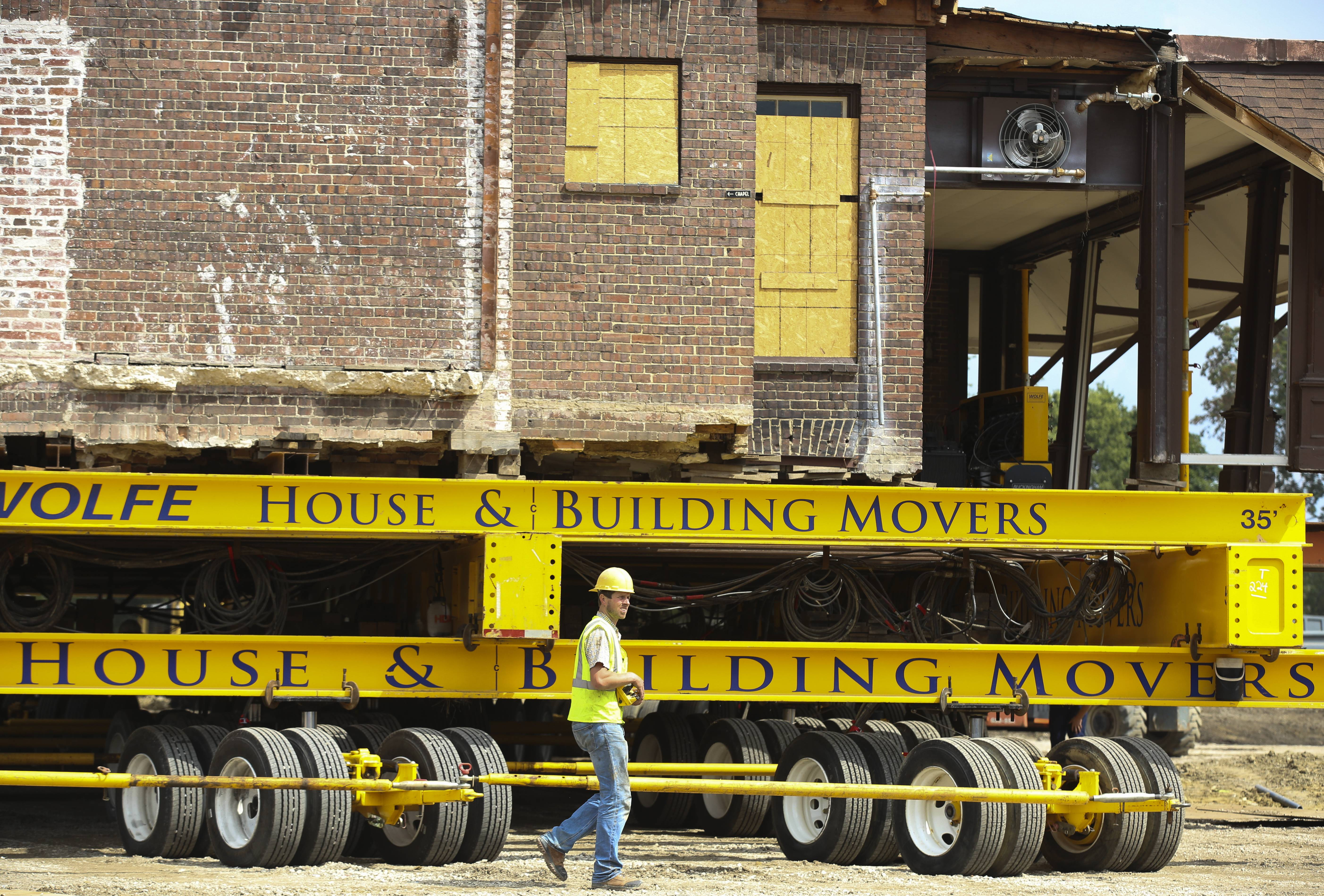 "One operator used remote controls to drive all 21 hydraulic dollies at one time -- ""kind of like a millipede,"" said Devin Hirt, a project estimator for the moving company's Midwest office in North Manchester, Indiana."