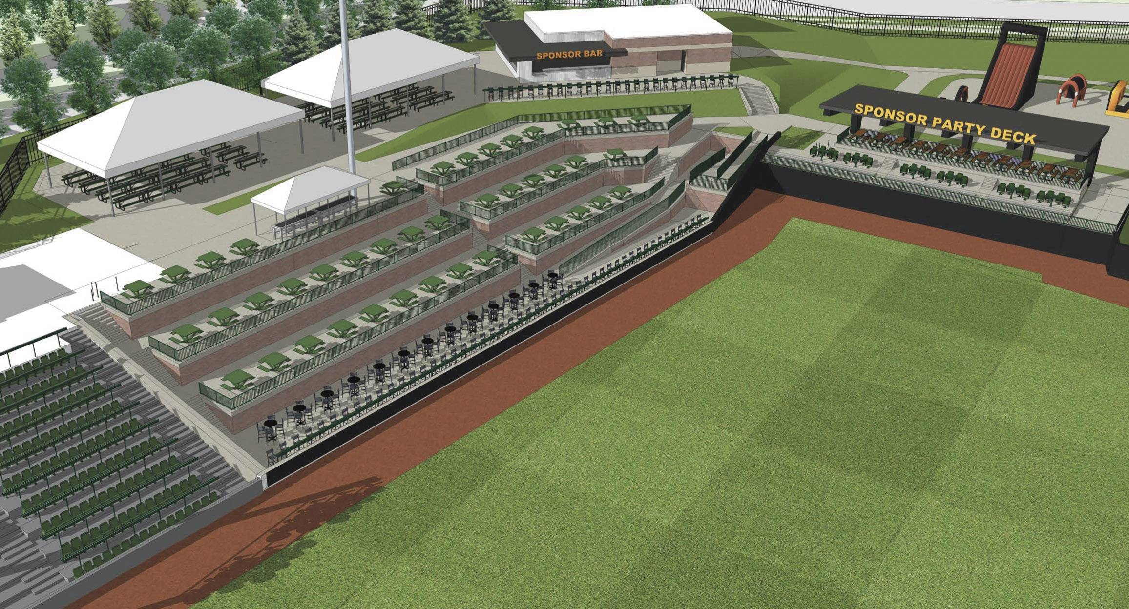 A rendering from consulting firm Jones Petrie Rafinski shows a renovated party deck in left field at Schaumburg Boomers Stadium.