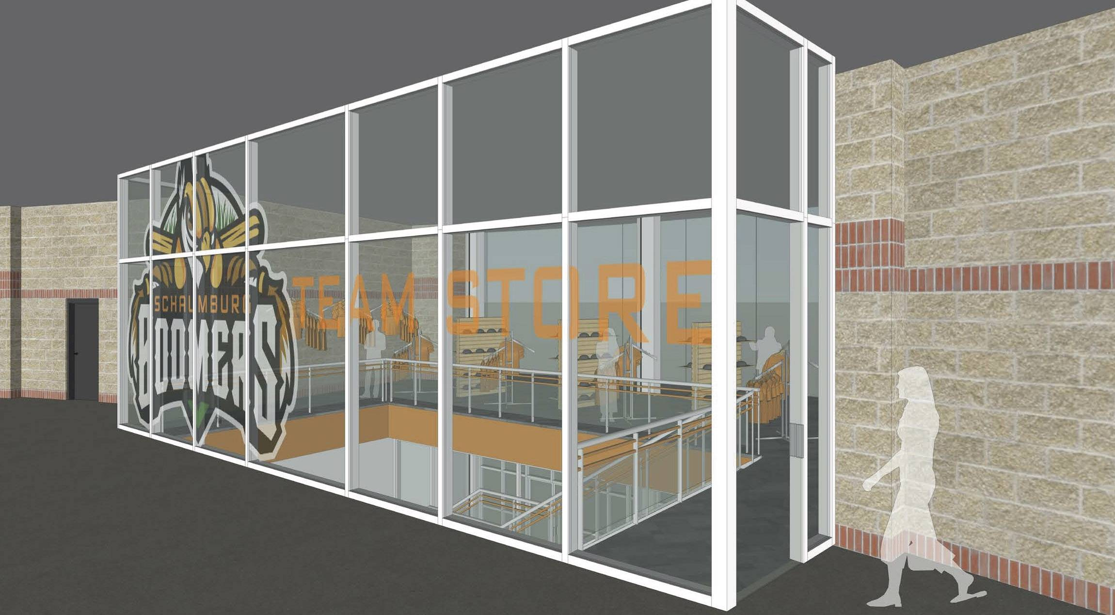 This rendering from consulting firm Jones Petrie Rafinski shows the upper level of a proposed two-story team store to make merchandise more visible and eliminate the existing wind tunnel problem at Schaumburg Boomers Stadium.