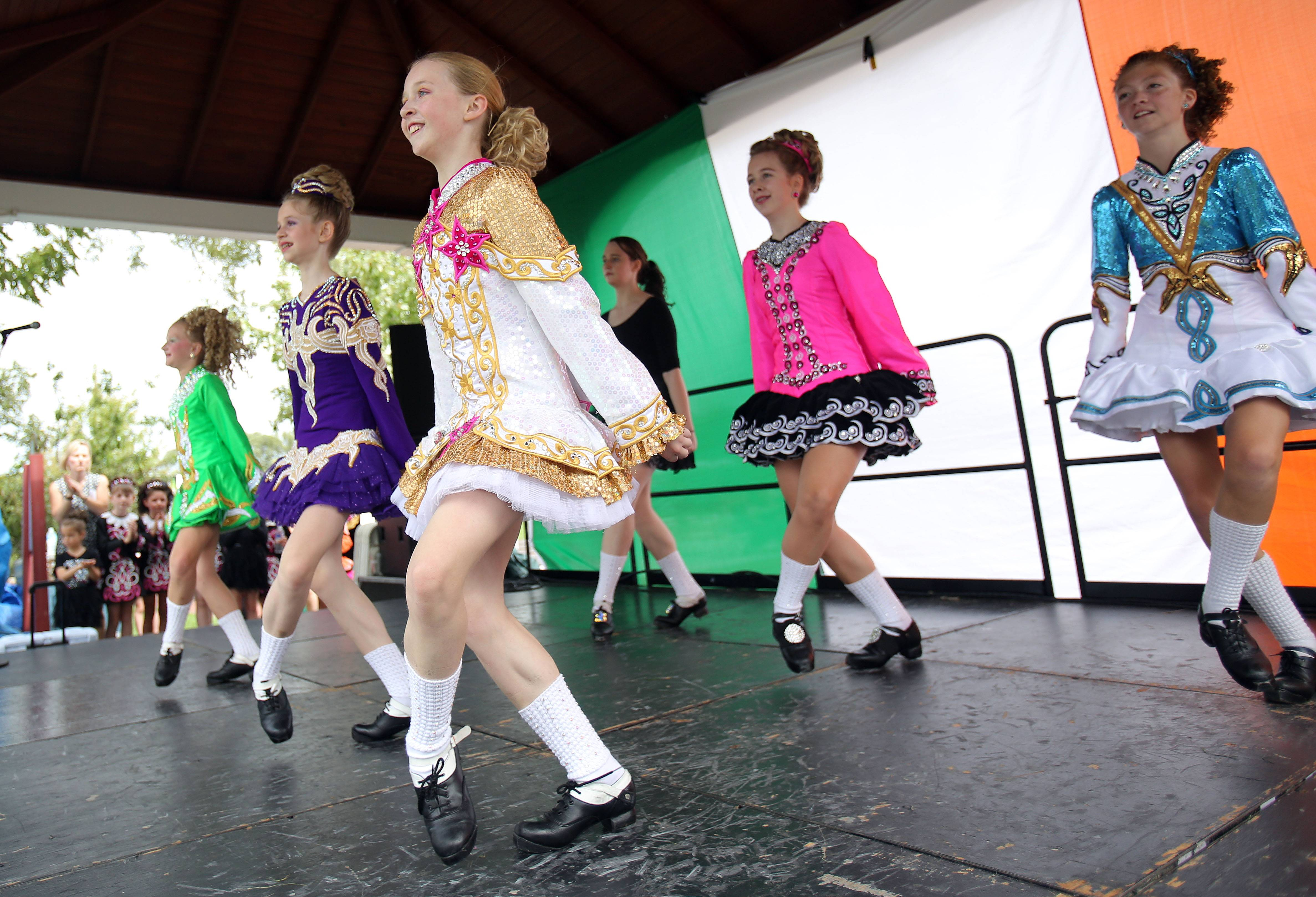 The Dillon-Gavin Irish Dancers from Des Plaines entertain the crowd during Irish Days in downtown historic Long Grove.