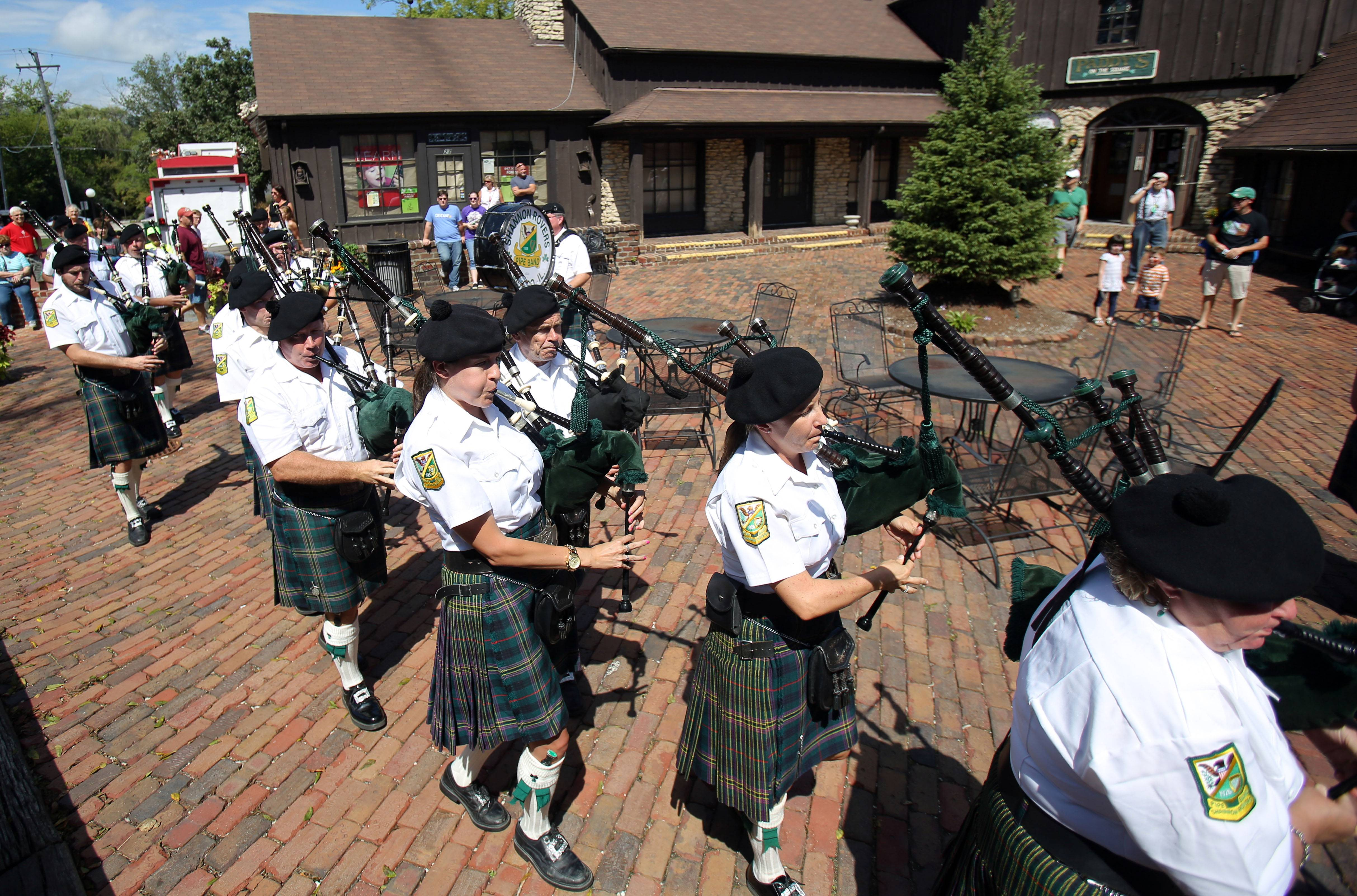 The Shannon Rovers march through the square during Irish Days in downtown Long Grove.