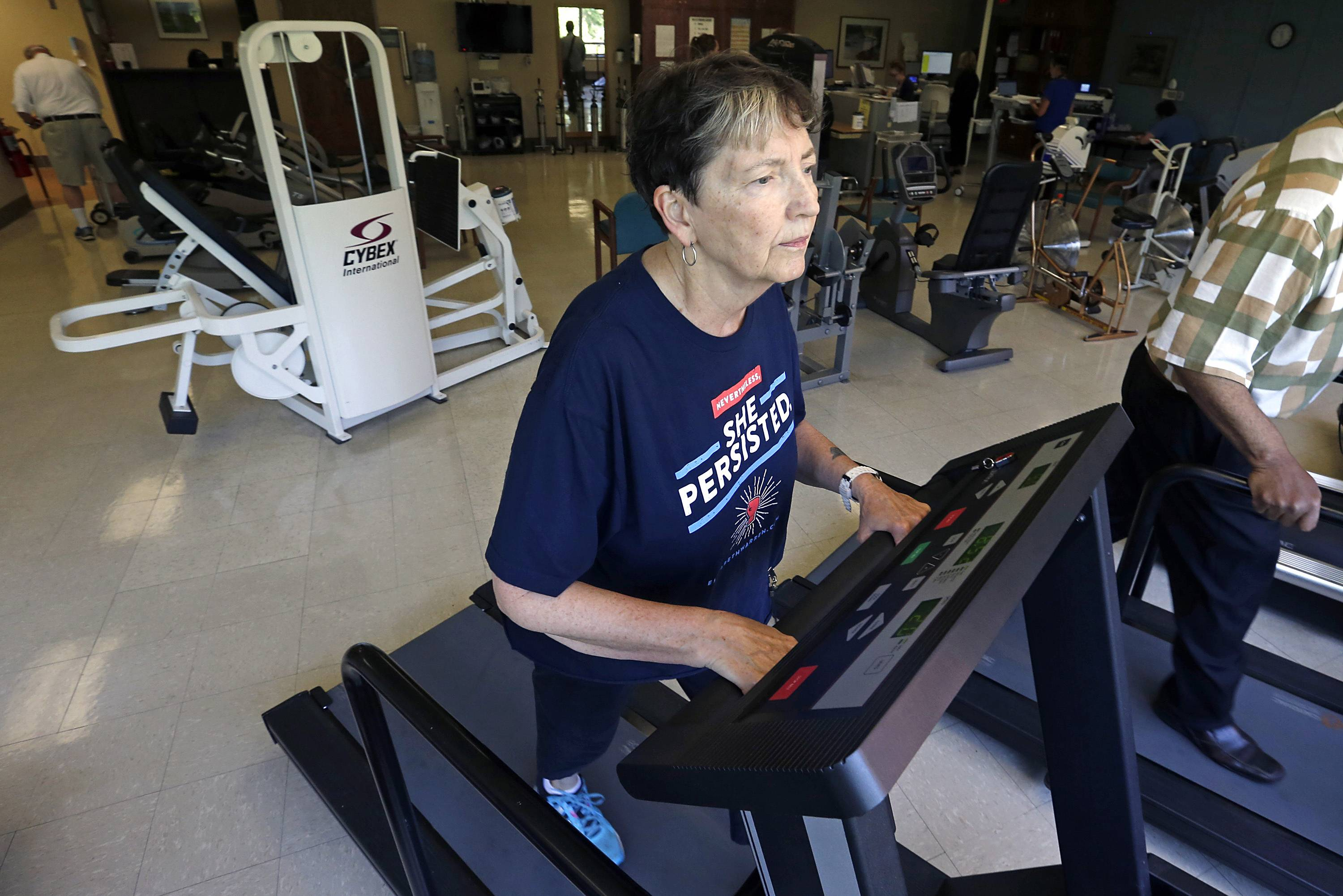 Rita Driscoll works on a treadmill in a supervised exercise therapy program for patients with peripheral artery disease at University of Minnesota Medical Center in Minneapolis. Medicare soon will start paying hospitals and clinics for these exercise sessions, making the therapy available for thousands of older Americans with a specific type of leg pain.