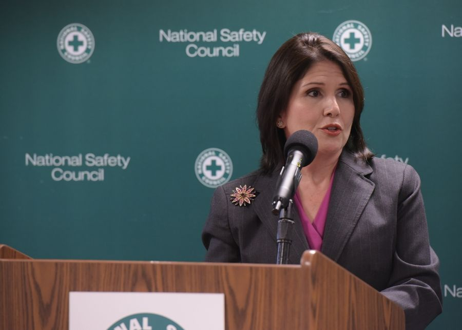 Lt. Gov. Evelyn Sanguinetti speaks during a Thursday news conference at the National Safety Council's headquarters in Itasca.