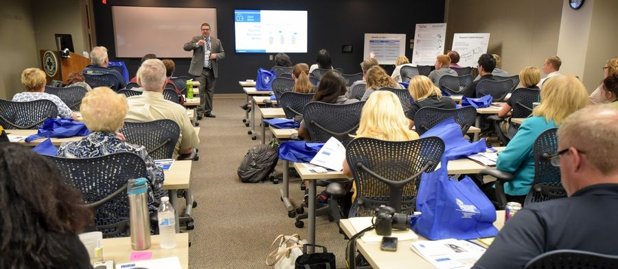 Andrew O'Brien of the DuPage County Health Department leads a narcan training session Thursday at the National Safety Council headquarters in Itasca.