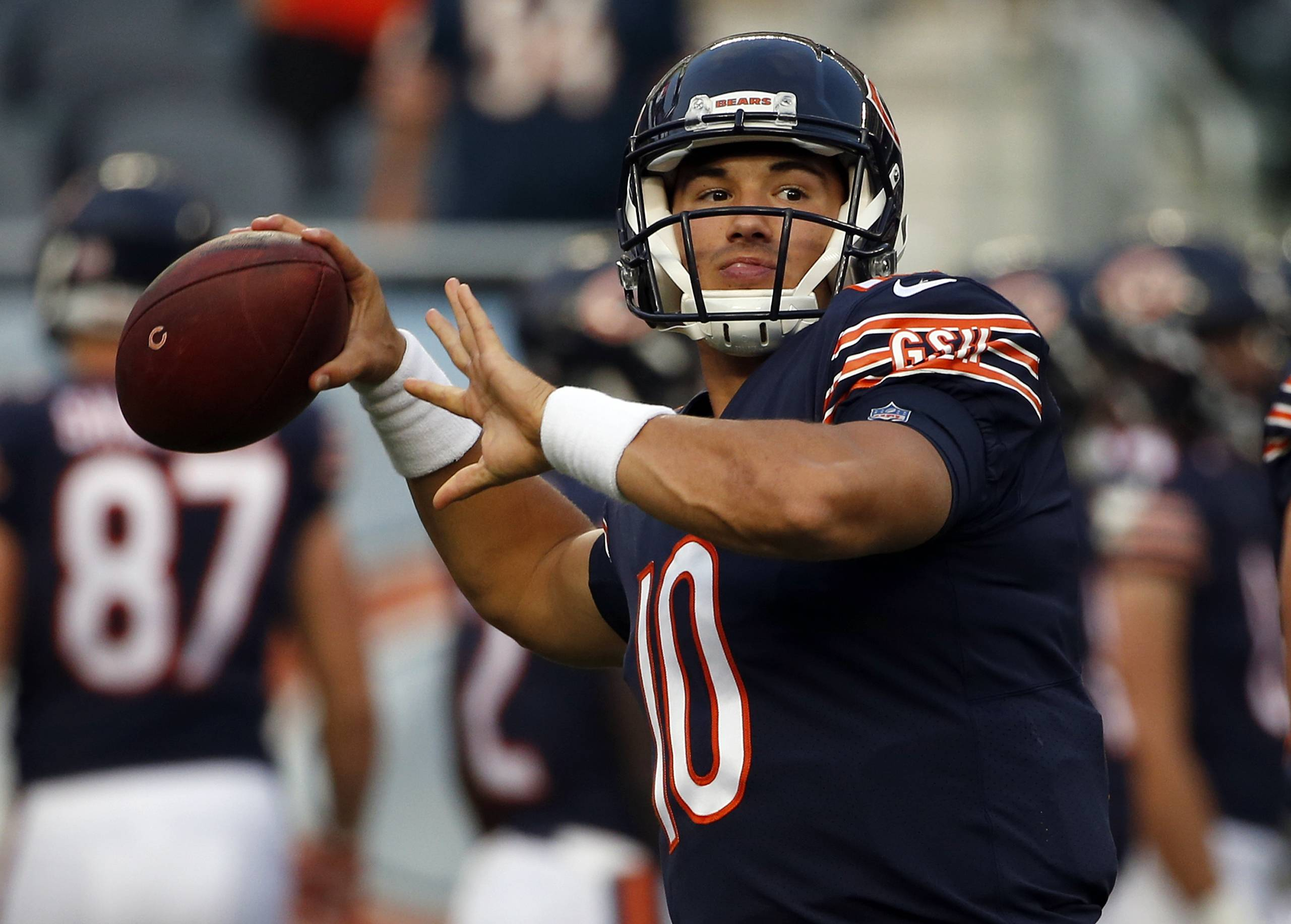 Chicago Bears quarterback Mitchell Trubisky (10) warms up before an NFL football game against the Cleveland Browns, Thursday, Aug. 31, 2017, in Chicago. (AP Photo/Nam Y. Huh)