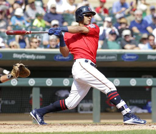 Minnesota Twins' Eddie Rosario follows through on a double during the third inning of a baseball game against the Chicago White Sox, Thursday, Aug. 31, 2017, in Minneapolis. (AP Photo/Paul Battaglia)